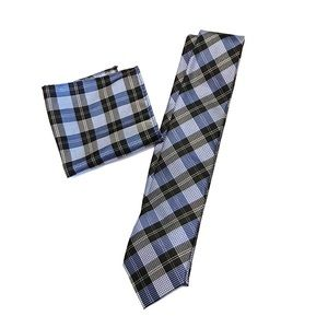 Plaid Blue Tie and Pocket Square set